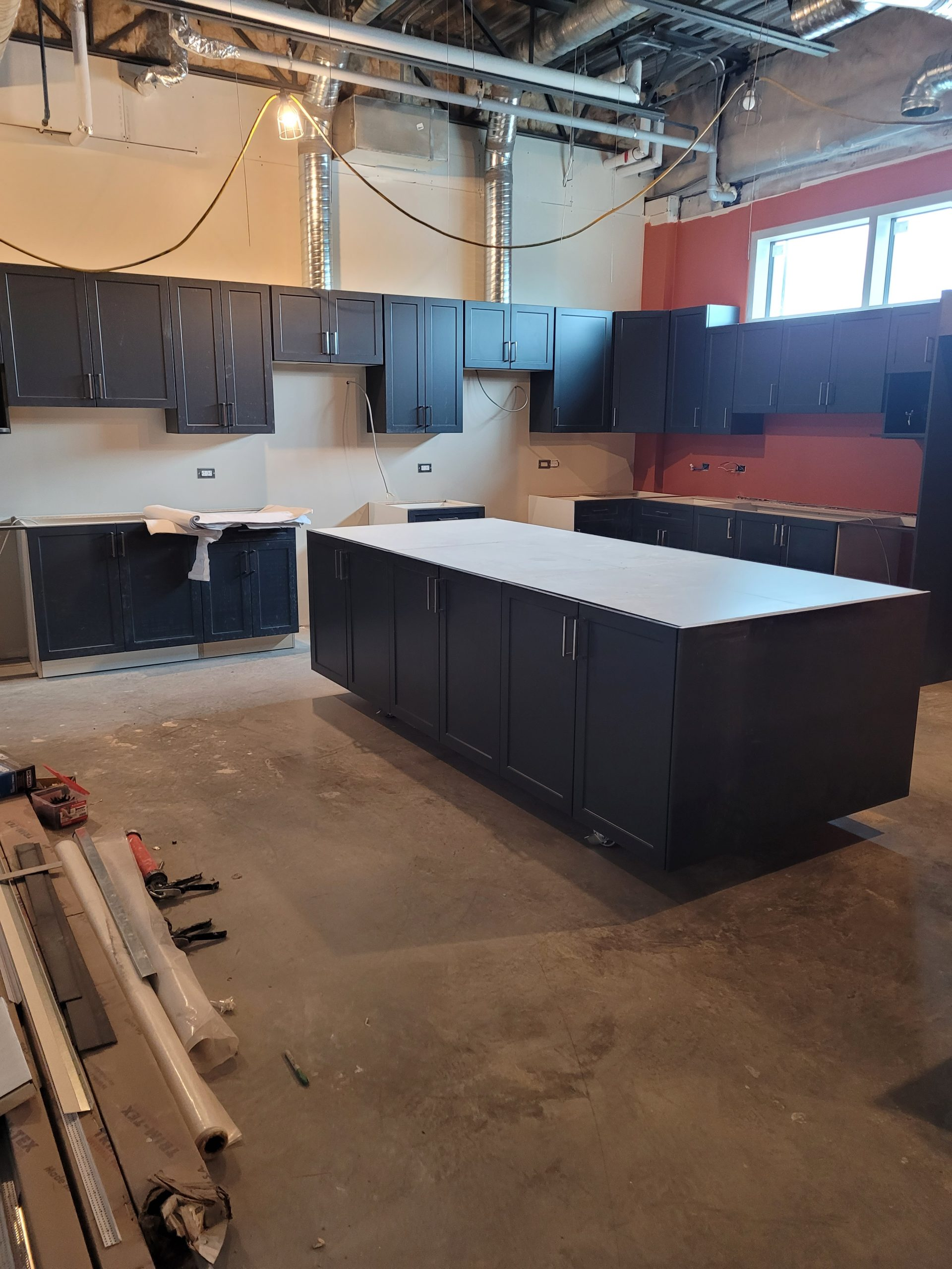 June 2021 - Teaching kitchen cupboards are in!